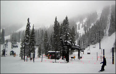 The base of Mary Jane ski area on a wintry day.