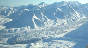 The McGinnis Glacier in the central Alaska Range.